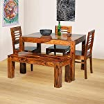Vinod Furniture Wooden Solid Sheesham Wood Dining Table 4 Seater | Dining Table Set with 3 Chairs & 1 Bench | Home Dining Room Furniture Teak Wood Dining Table 4 Seater | Honey Finish