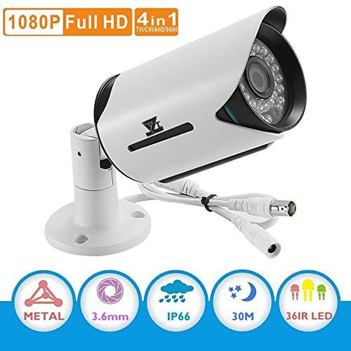 CCTV AHD Security System Camera - JZTEK 1/2.7 1080P Surveillance Bullet Camera 3.6mm Lens IR-Cut Wide Angle 30m Night Vision IP66 Waterproof Outdoor for CCTV DVR, Hybrid DVR, AHD DVR