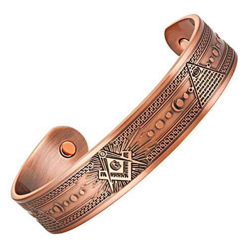 MasonicMan Masonic Men's Pure Copper Magnetic Therapy Adjustable Bracelet Bangle (Copper) from MasonicMan
