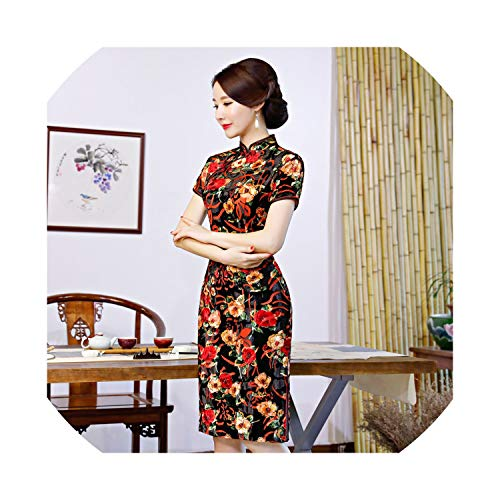 (2019 Autumn New Retro Slim Slimming Long Paragraph Large Size Short-Sleeved Cheongsam Mother Dress,316 Small Yellow Flower,XXXXL)