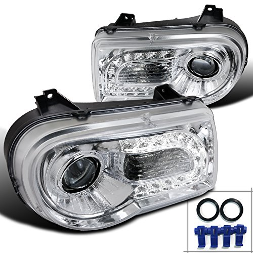 Spec-D Tuning LHP-300C05-TM Chrysler 300C Chrome LED DRL Strip Projector Headlights (Chrysler 300 Back Bumper compare prices)