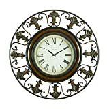 Cheap Deco 79 75621 Metal Wall Clock with Round Flower Themed Border
