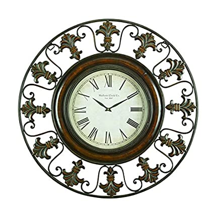 5e0b2cf7260e Buy Deco 79 75621 Metal Wall Clock with Round Flower Themed Border Online at  Low Prices in India - Amazon.in