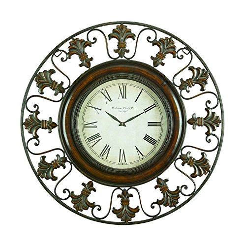 Deco 79 75621 Metal Wall Clock with Round Flower Themed Border