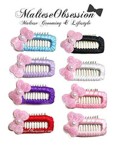 (Mini Comb Ribbon Wrapped Snappy Snap Hair Clip for Maltese (Set of 8), Yorkshire, Puppy - Korean Style Dog Hair Bow Snap Clip - Maltese Obsession)