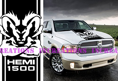 - Hemi Dodge Ram 1500 Hood Stripe Truck Decals Mopar Stickers Vinyl Car Graphics (Black)
