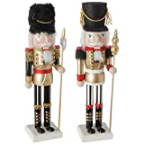 Raz Imports Set of 2 Wood Nutcrackers in Gold Black Red and White 15''