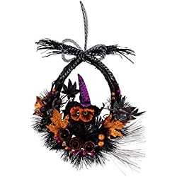 "17.5"" Haunted OwlWreath Wall Décor to Celebrate Halloween"