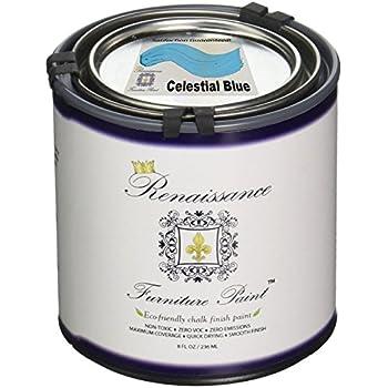 Renaissance Chalk Finish Paint - Celestial Blue - 1/2 Pint (8oz) - Chalk Furniture & Cabinet Paint - Non Toxic, Eco-Friendly, Superior Coverage