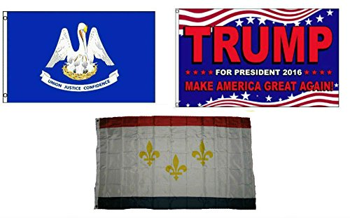 ALBATROS 3 ft x 5 ft Trump 2016 with State of Louisiana with City of New Orleans Set Flag for Home and Parades, Official Party, All Weather Indoors Outdoors -