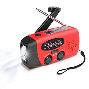 Emergency Radio MECO Solar Hand Crank Dynoma Weather Radio AM/FM/WB NOAA Radio with LED Flashlight, Phone Charger and 1000mAh Power Bank for Camping Hiking Outdoor Survival, with Cable & USB Jacks