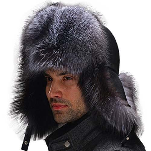 Fur Story 14635 Men's Real Fox Fur Hat Sheep Leather Top Hat Silver Fox