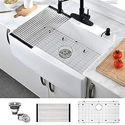 Farmhouse Kitchen HOSINO 33 Inch Handcrafted Fireclay Kitchen Sink, Single Bowl Farmhouse Sink White Farmers Sink Rustic Apron Front Sink… farmhouse kitchen sinks