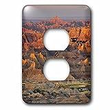 3dRose Danita Delimont - Deserts - Sunrise, Pinnacles Overlook, Badlands National Park, South Dakota, Usa - Light Switch Covers - 2 plug outlet cover (lsp_279430_6)