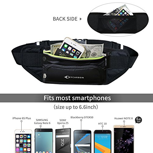 Fanny Pack MYCARBON Waist Pack with Water Bottle Holder,Waterproof Running Belt for Men Women,Fits IPhone 8Plus Galaxy S8 Note 8,Reflective Hydration Belt for Running Hiking Travelling Black Fanny Bag