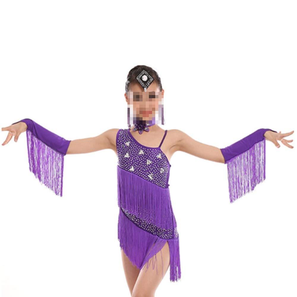Violet 120cm Sunbobo Robe Formelle Enfant Tango Dance Theme Enfants Girls Robe Outfits pour Adultes Jupe Perforhommece Circle (Couleur   Blanc, Taille   110cm)