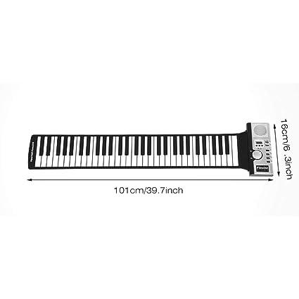WOSOSYEYO 61 Teclas 128 Tonos Roll Up Teclado de Piano ...