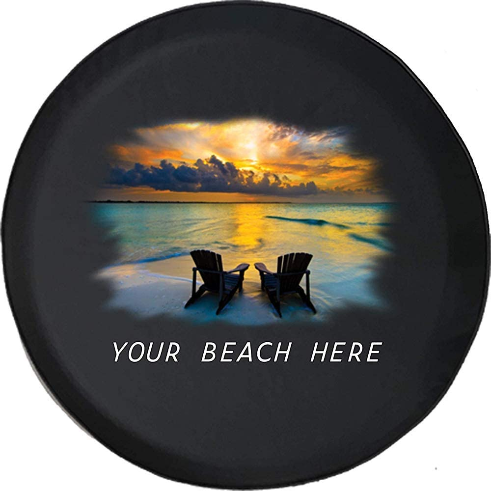 AllenPrint Wheel Tire Cover,Silla De Playa Sunrise Vacation Rest Travel Cubiertas De Neumáticos De Repuesto Personalizadas para Ruedas De Automóviles 76-79cm