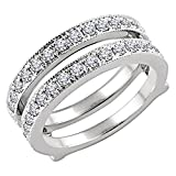 14k Real White Gold Plated 3/4ct Round Simulated Lab Created Diamond Enhancer Wedding Ring Wrap Guard
