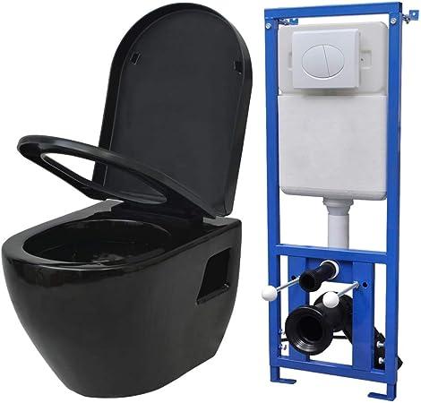 vidaXL Toilette Suspendue au Mur avec Réservoir en Céramique Noir Cuvette WC