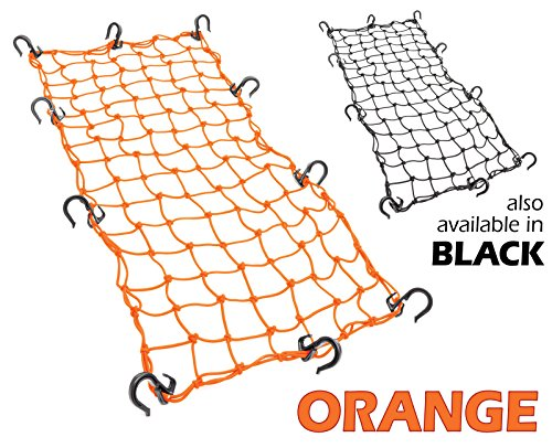 Powertye 15x30 Mfg Large Cargo Net featuring 10 Adjustable Hooks & Tight 2x2 Mesh, Orange