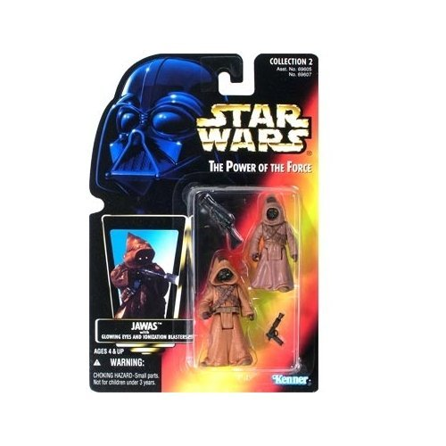 Star Wars Power of the Force Jawas Red Card Action Figures with Glowing Eyes and Blaster Pistol]()
