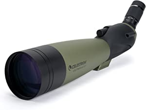 Celestron – Ultima 100 Angled Spotting Scope – 22 to 66x100mm Zoom Eyepiece – Multi-Coated Optics for Bird Watching, Wildlife, Scenery and Hunting – Waterproof and Fogproof – Includes Soft Carrying Case