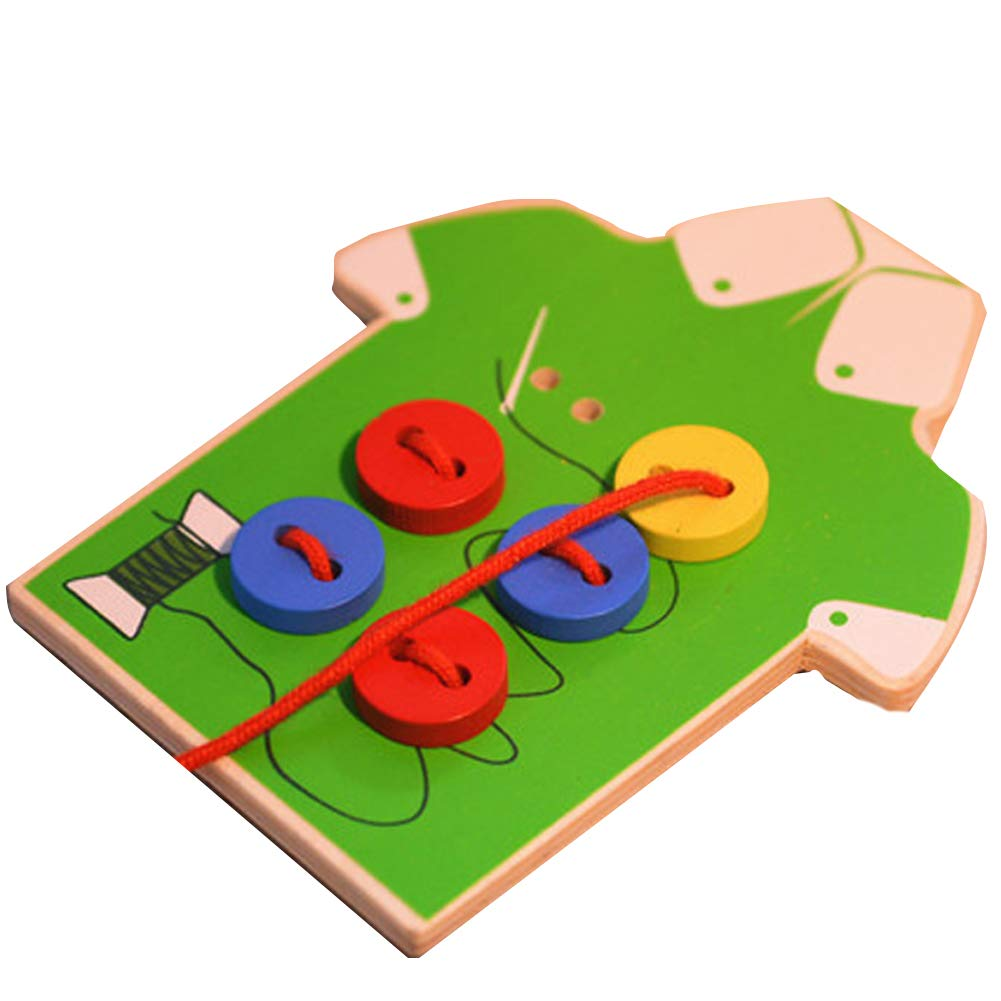 potato001 Kids Children Wooden Sew-on Buttons Lacing Board Toddler Early Education Toy Green