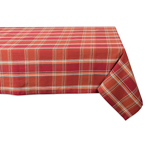 DII CAMZ10880 Cotton Tablecloth, Perfect for Autumn, Thanksgiving, Catering Events, Dinner Parties, Special Occasions Or Everyday Use, 60X84, Autumn Spice Plaid ()