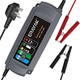 ERAYAK 6A Car Battery Charger TUV GS Certified, 6V/12V Trickle Charger Maintainer for 150Ah Lead-acid Battery, Maintenance-free, CA-CA, AGM &Gel Battery