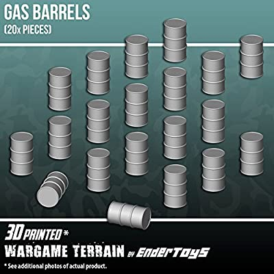 Gas Barrels, Terrain Scenery for Tabletop 28mm Miniatures Wargame, 3D Printed and Paintable, EnderToys by Seus Corp Ltd