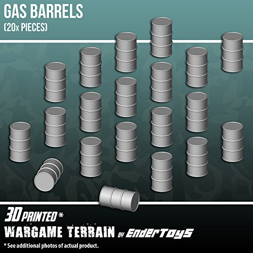 EnderToys Gas Barrels, Terrain Scenery for Tabletop 28mm Miniatures Wargame, 3D Printed and Paintable