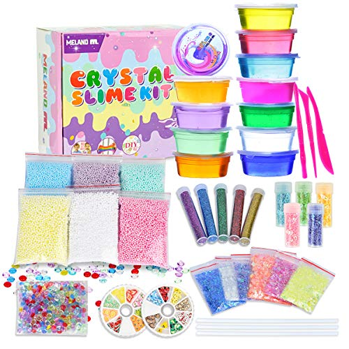 Meland Crystal Slime Kit - 28.2 OZ Slime Making Kit Jelly Slime Toy for Kids and Adults, Slime Supplies and Tools Included to Make Your Own Slime