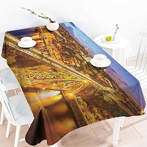 familytaste City,Rectangular Table Cloth Porto Dom Luis Bridge at Night River Portuguese Coast Mediterranean View 60