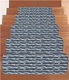 iPrint Non-Slip Carpets Stair Treads,Fish,Asian Inspired Geometric Aquarium Animal Geometric Pattern Cartoon Style Decorative,Slate and Cadet Blue Tan,(Set of 5) 8.6''x27.5''