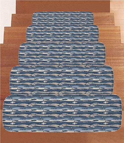 iPrint Non-Slip Carpets Stair Treads,Fish,Asian Inspired Geometric Aquarium Animal Geometric Pattern Cartoon Style Decorative,Slate and Cadet Blue Tan,(Set of 5) 8.6''x27.5'' by iPrint