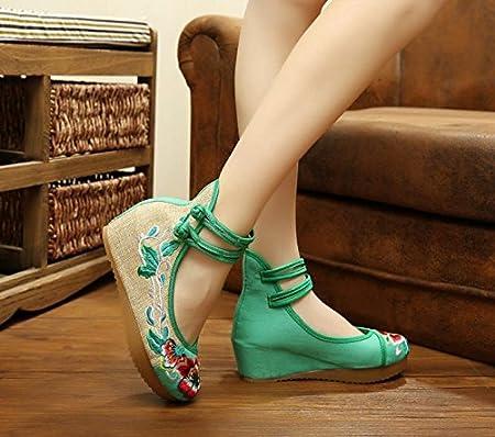 GuiXinWeiHeng xiuhuaxie (new)-Gestickte Schuhe, Leinen, Sehnensohle, ethnischer Stil, erh?hte weibliche Schuhe, Mode, bequem, l?ssig, red, 39