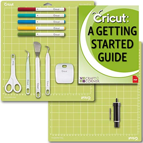 (Cricut Tools Bundle Beginner Guide, Cutting Mat, Deep Cut Blade and Housing, Basic Tools, Pens)