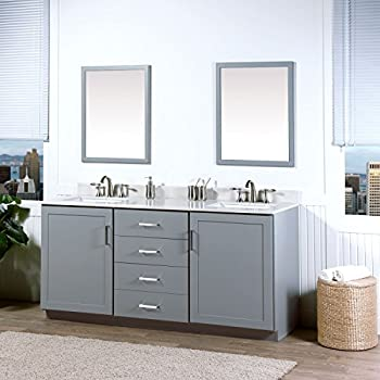 This Item MAYKKE Sterling 72 Inch Bathroom Vanity Cabinet In Birch Wood  Light Grey Finish, Double Floor Mounted Gray Vanity Base Cabinet With  Brushed Nickel ...