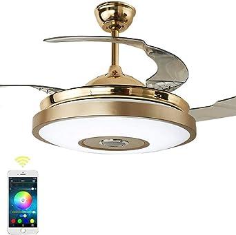 Luz De Ventilador De Techo De Bluetooth Audio Music Player, Control Remoto Luz De Ventilador De Techo De 3 Colores Regulable Led Mute (36 pulgadas): Amazon.es: Iluminación