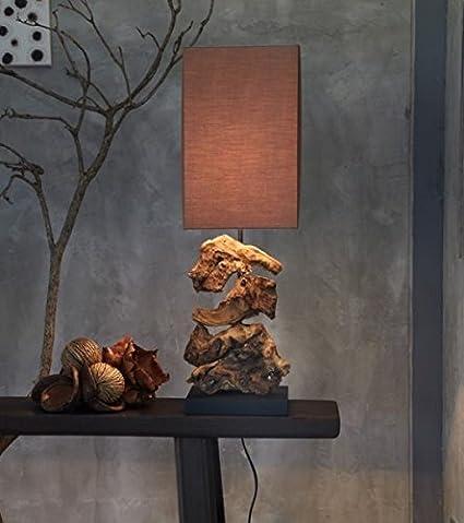 Design Treibholz Lampe Tischlampe Nachttischlampe TischleuchteHIGHLAND (Dunkel) [Energieklasse A++] Grafinteriors
