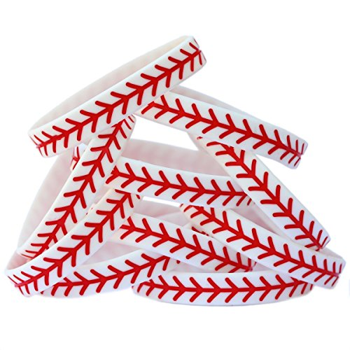 SayitBands 10 Baseball Design Wristband Silicone -