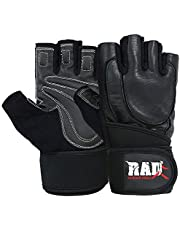 RAD Leather Weight Lifting Long Wrist Wraps Gloves Gym Fitness Exercise Body Building Black