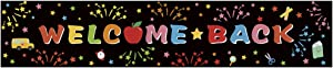 Kumfie House Large Welcome Back Banner, First Day of School Banner, Back to School Decorations Party Supplies, Teacher Banner Office Classroom Decor (8 x 1.6 FT)(Black with fireworks)