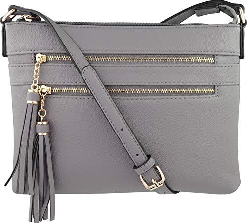 B BRENTANO Vegan Multi-Zipper Crossbody Handbag Purse with Tassel Accents (True Gray)