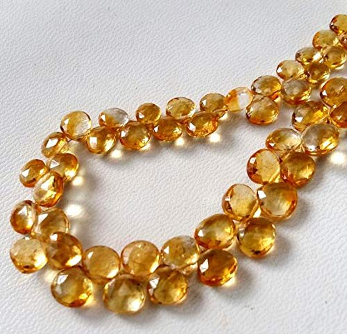 - Natural Citrine Faceted Heart Shaped Beads,AAA+++ Quality Beautiful Gemstone, 5 mm to 7 mm Approx. 9