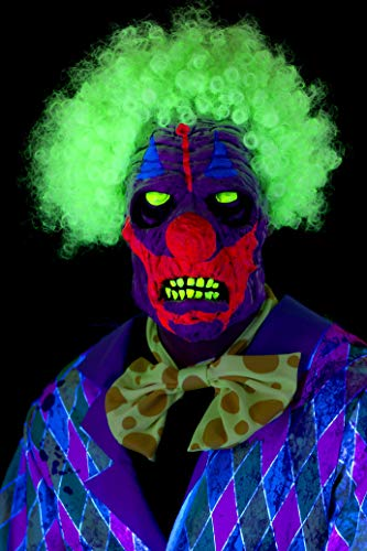Smiffy's UV Black Light Halloween Clown Mask