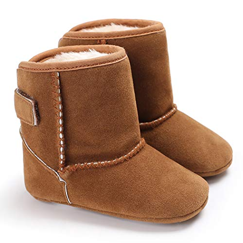 Cindear Infant Baby Boys Girls First Walker Shoes Suede Faux-Fur Lined Warm Winter Snow Boots for Newborn Baby Crib Shoes 1011 Brown 12-18 Months