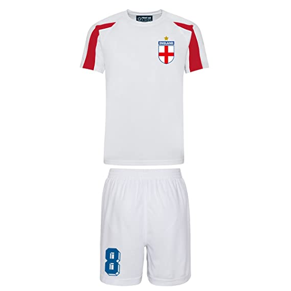 60ca21d8c37 Printmeashirt Kids Customisable White and red England Style Football kit  Shirt and Shorts Home  Amazon.co.uk  Clothing