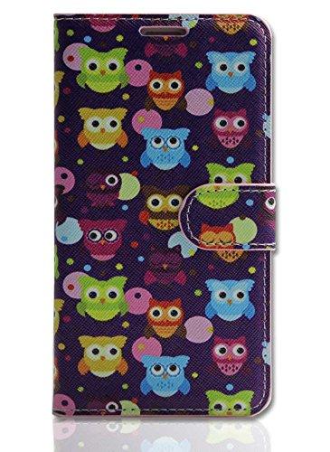 Handy Tasche Case book für Apple iPhone 5S Schutzhülle Handytasche Eule lila